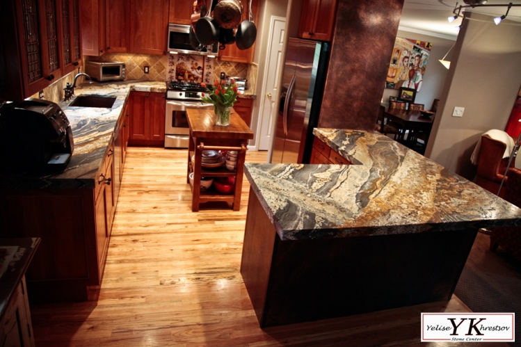 6cm Leathered Magma Gold Granite Kitchen Install 187 Yk