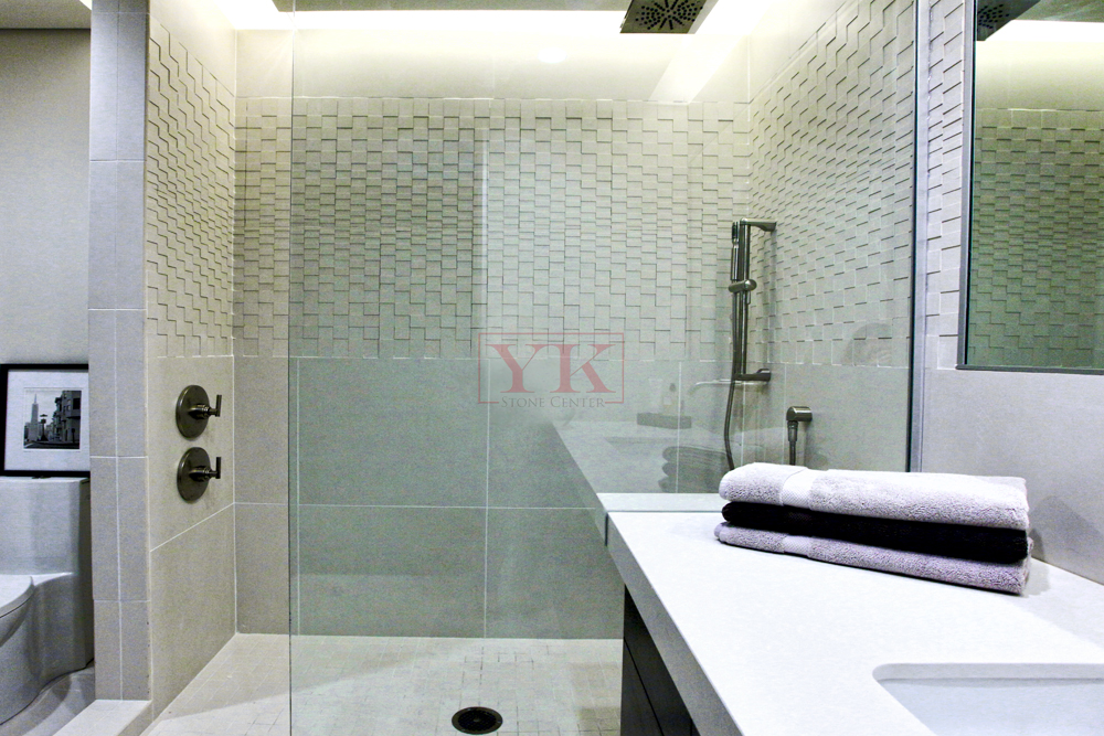 White Quartz Bathroom Counter white bathroom. quartz countertops. yk stone center in denver
