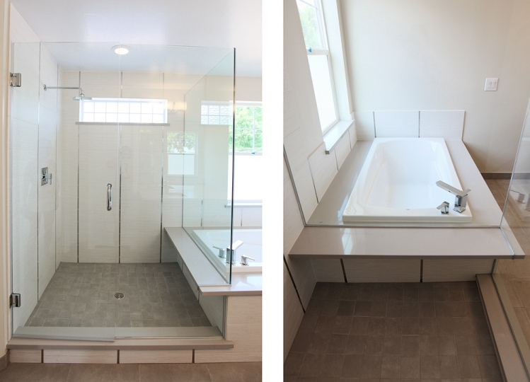 caesarstone material in masterbath shower