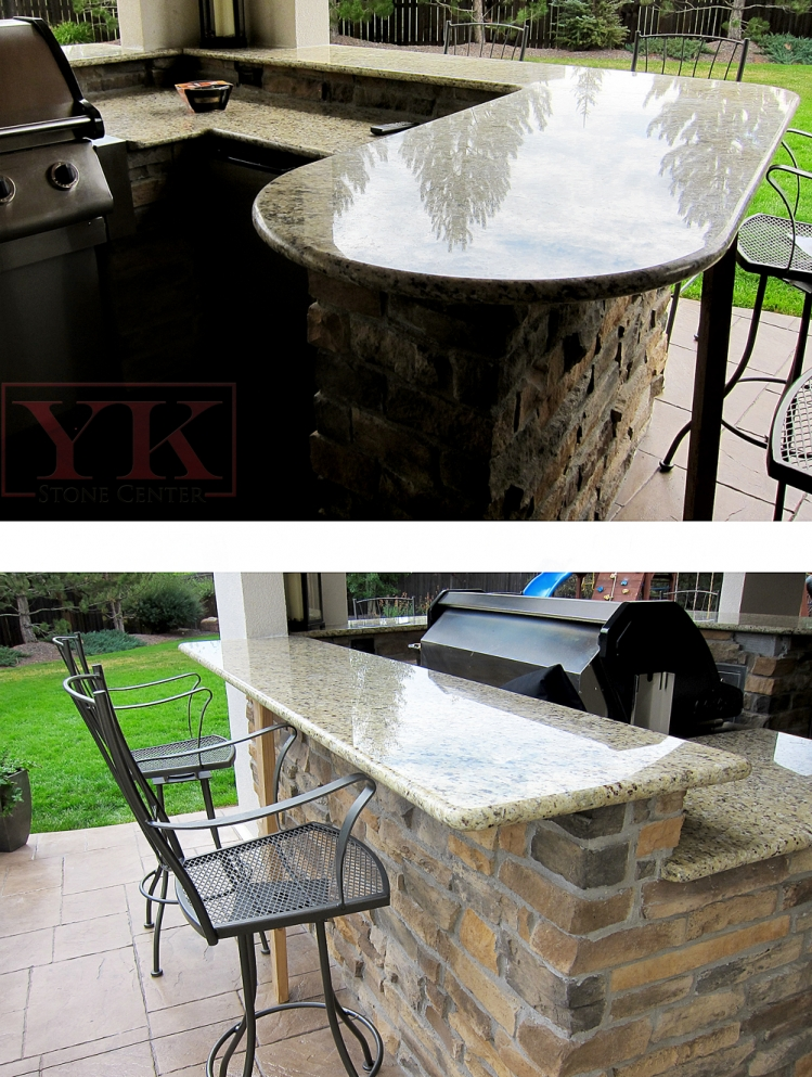 outdoor bbq with granite countertops new venetian gold granite oversize bullnose edge
