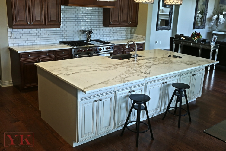 Marvelous Kitchen Island Countertop #5: Calcutta Gold Marble Kitchen Island Quicua