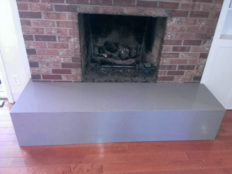 Caesarstone Pebble Fireplace Hearth Installed Mitred